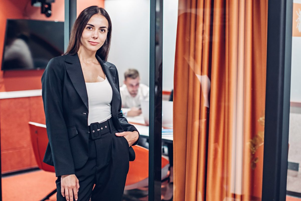 woman near the meeting room